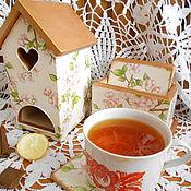 """Для дома и интерьера ручной работы. Ярмарка Мастеров - ручная работа Набор для чая """"Вишня в цвету"""". Handmade."""