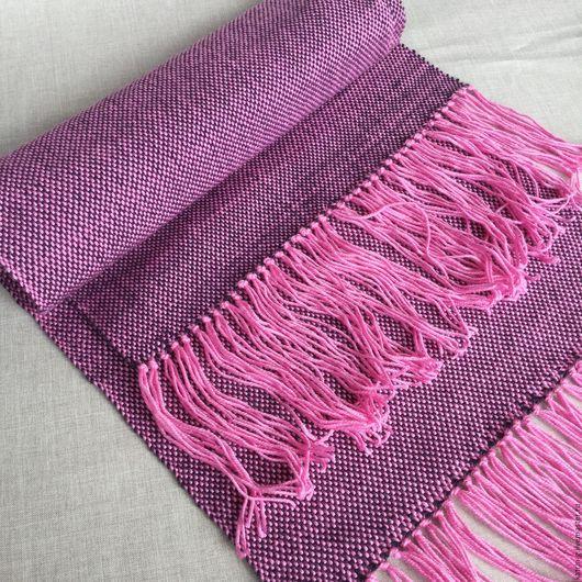 Шарфы и шарфики ручной работы. Ярмарка Мастеров - ручная работа. Купить Домотканый шарф женский Розовое облако. Handmade. Розовый