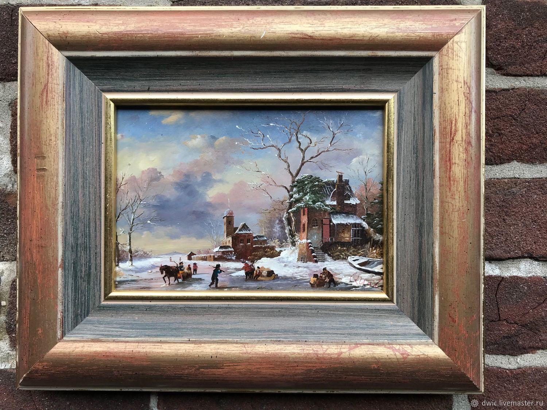 The painting 'the skating rink', oil on wood, Holland, Vintage interior, Arnhem,  Фото №1