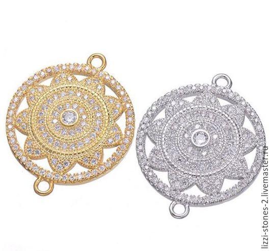 Коннектор Солнце серебро и золото (Milano) Евгения (Lizzi-stones-2)