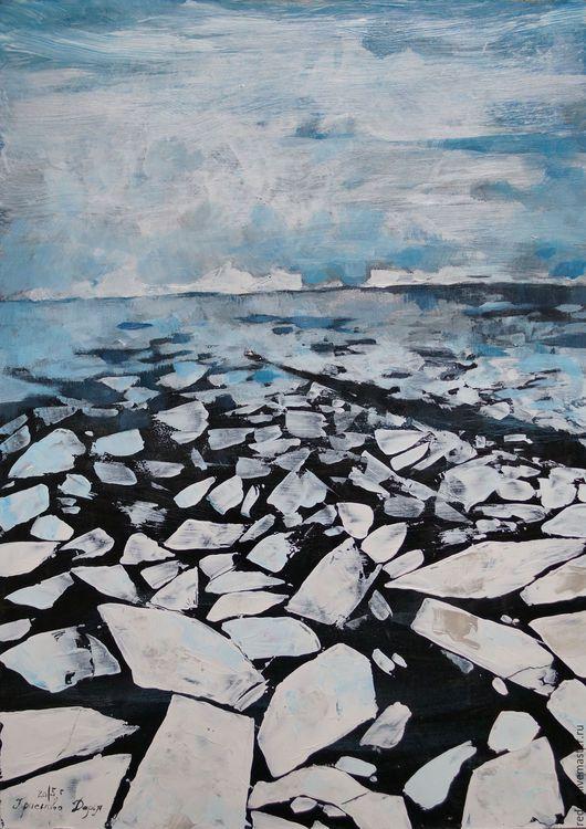 Пейзаж ручной работы. Ярмарка Мастеров - ручная работа. Купить На край света... Handmade. Белый, синий, океан, лед