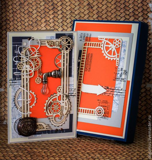 """Открытки для мужчин, ручной работы. Ярмарка Мастеров - ручная работа. Купить Мужская открытка в коробке """"Мануфактурщики 4"""". Handmade. Бежевый"""