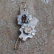 Украшения handmade. Livemaster - original item Cross earrings with coin and tourmaline, silver, goldfield and brass. Handmade.