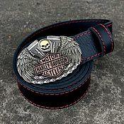 Аксессуары handmade. Livemaster - original item Leather belt with the logo