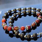 Украшения handmade. Livemaster - original item Beads, necklace of lava, red Jasper and rauchtopaz. Handmade.