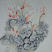 Картины и панно ручной работы. Ярмарка Мастеров - ручная работа картинаЦикламены(китайская живопись цветы пастельные тона акварель). Handmade.