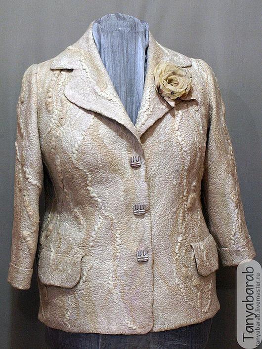 """Пиджаки, жакеты ручной работы. Ярмарка Мастеров - ручная работа. Купить Жакет """" Pearl"""". Handmade. Бежевый, шерсть меринос"""