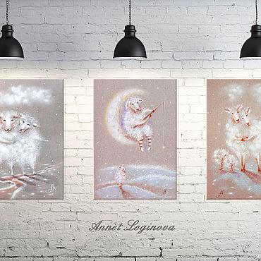 Картины и панно ручной работы. Ярмарка Мастеров - ручная работа Набор принтов Теплые сны. Handmade.