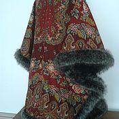 Одежда handmade. Livemaster - original item PONCHO from pavlovoposadskaja the handkerchief with the suit. fur. Handmade.