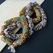 Материалы для творчества handmade. Livemaster - original item Krobo beads Africa Ghana 2 kinds zigzag / green companion. Handmade.