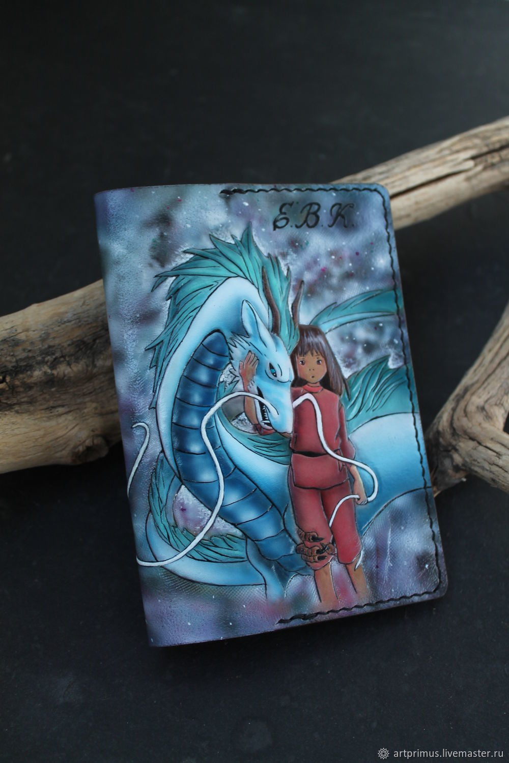 Leather cover passport spirited away, embossed, painted, Passport cover, Voronezh,  Фото №1