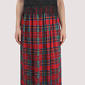 Одежда handmade. Livemaster - original item Skirt Scottish check red in the floor viscose. Handmade.