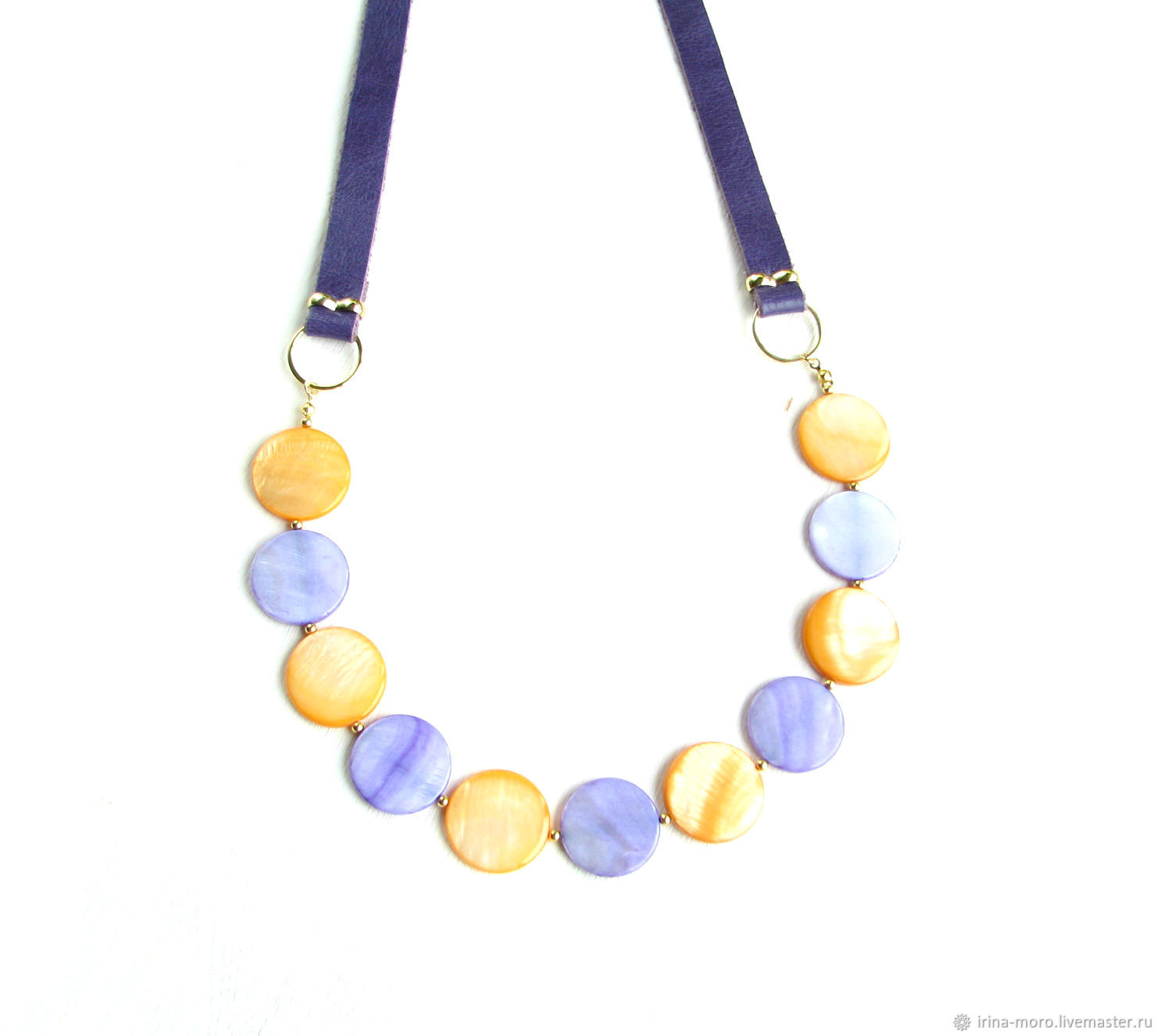 Necklace mother of pearl 'Rainbow drops'purple bright necklace, Necklace, Moscow,  Фото №1