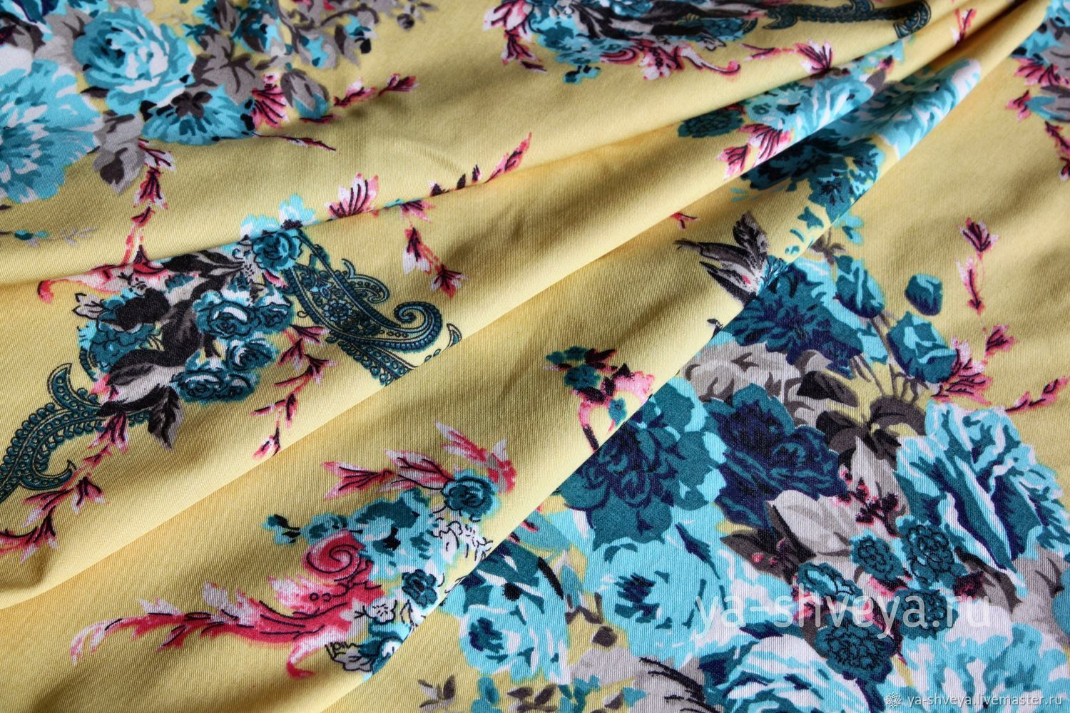 Summer suit-stretch 'Bouquets' on soft lemon, Fabric, Moscow,  Фото №1
