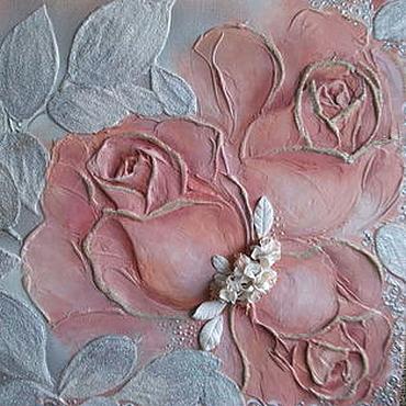 """Картины и панно ручной работы. Ярмарка Мастеров - ручная работа """"Кремовые розы"""". Handmade."""