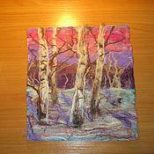 """Картины и панно ручной работы. Ярмарка Мастеров - ручная работа Картина из войлока """"Зимний лес"""". Handmade."""