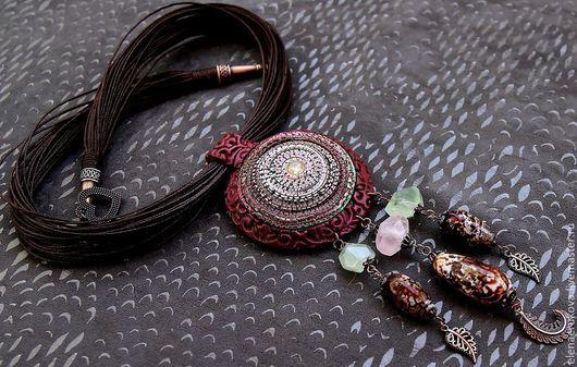 Кулоны, подвески ручной работы. Ярмарка Мастеров - ручная работа. Купить Кулон из полимерной глины и натуральных камней. Handmade.