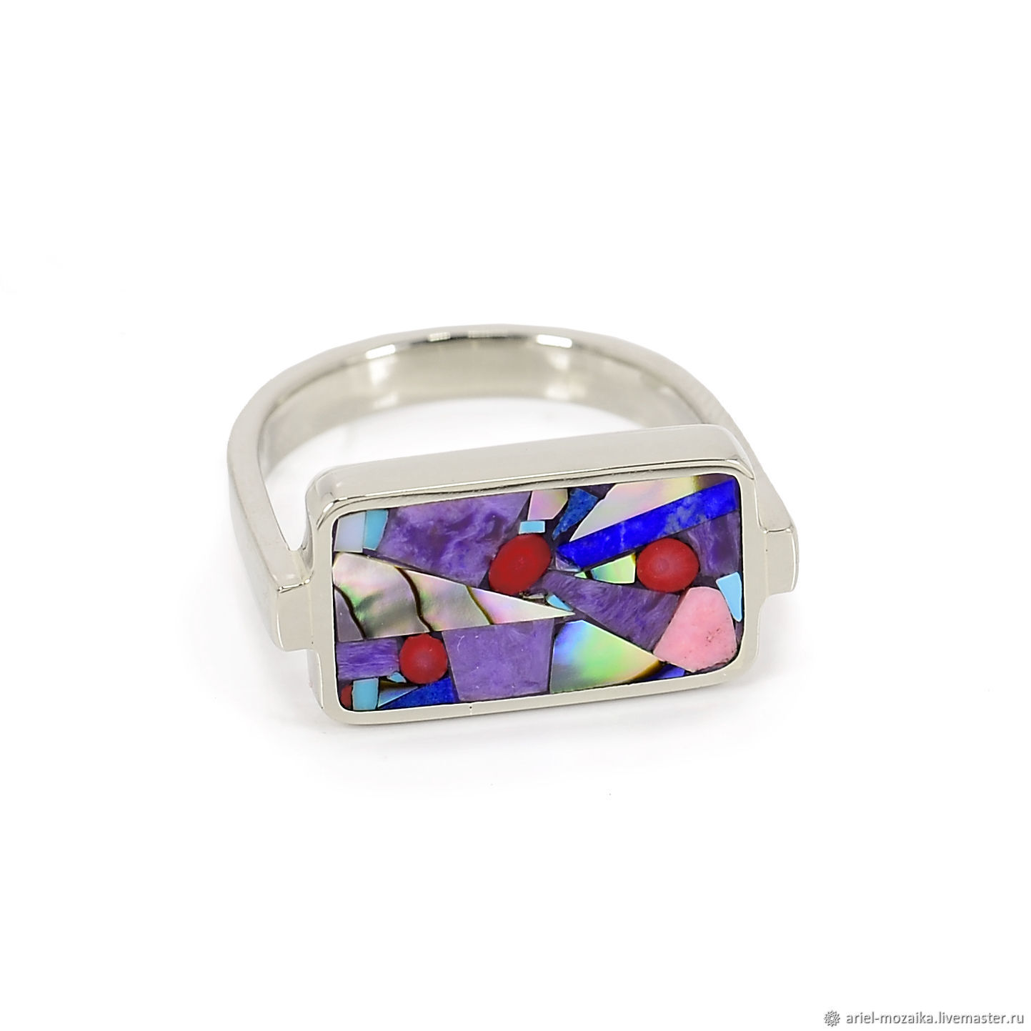 Ring. Charoite, Lapis Lazuli, Corals. Ring size 17-17.5, Rings, Moscow,  Фото №1