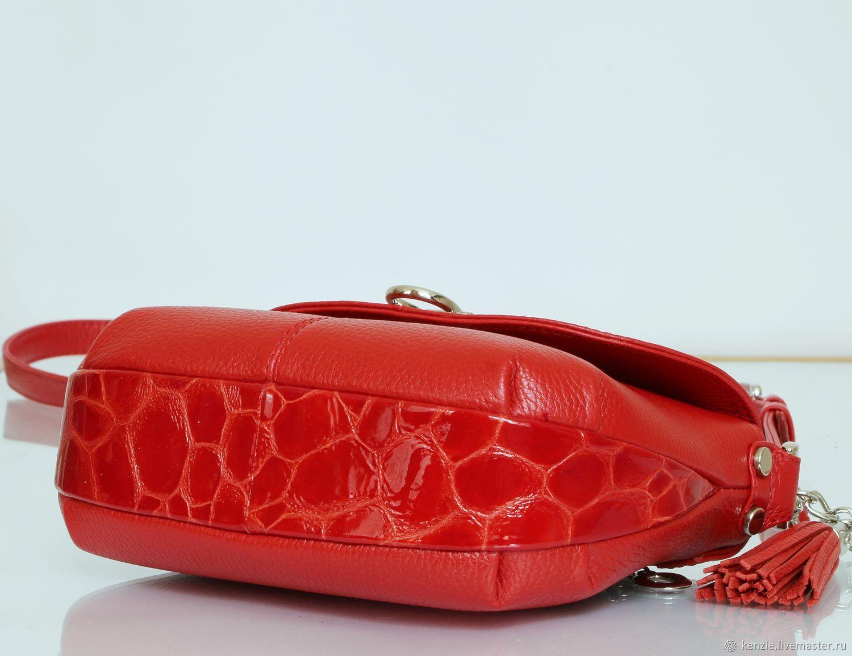 c7f95a87c52f KENZIE Женские сумки ручной работы. Заказать Сумка кожаная женская ' Flap '  красная мини'.