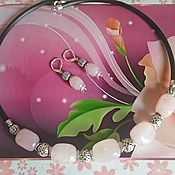 Украшения handmade. Livemaster - original item Choker Necklace and rose quartz earrings set. Handmade.