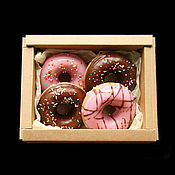 """Мыло ручной работы. Ярмарка Мастеров - ручная работа Набор мыла """"Пончики"""" в подарочной коробке. Handmade."""