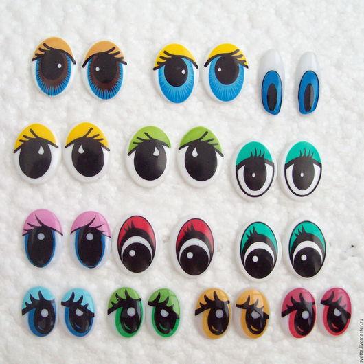 Куклы и игрушки ручной работы. Ярмарка Мастеров - ручная работа. Купить Средние овальные пластиковые глазки для игрушек. Handmade.