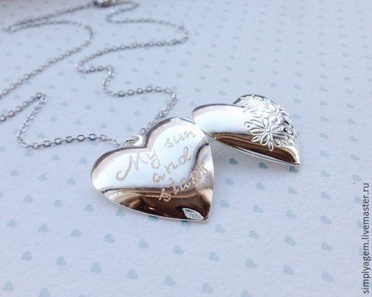 Кулоны, подвески ручной работы. Ярмарка Мастеров - ручная работа. Купить Медальон в форме сердца. Handmade. Медальон с гравировкой