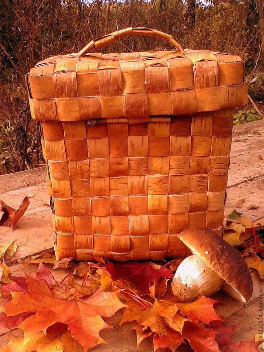 """Корзины, коробы ручной работы. Ярмарка Мастеров - ручная работа. Купить """"Пестерь прямого плетения"""". Handmade. Бежевый, плетение"""