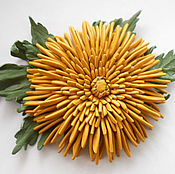 Украшения handmade. Livemaster - original item Leather flowers. Brooch clip NEEDLE YELLOW CHRYSANTHEMUM leather.. Handmade.