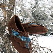 """Обувь ручной работы. Ярмарка Мастеров - ручная работа Тапочки """"Капли бирюзы"""". Handmade."""