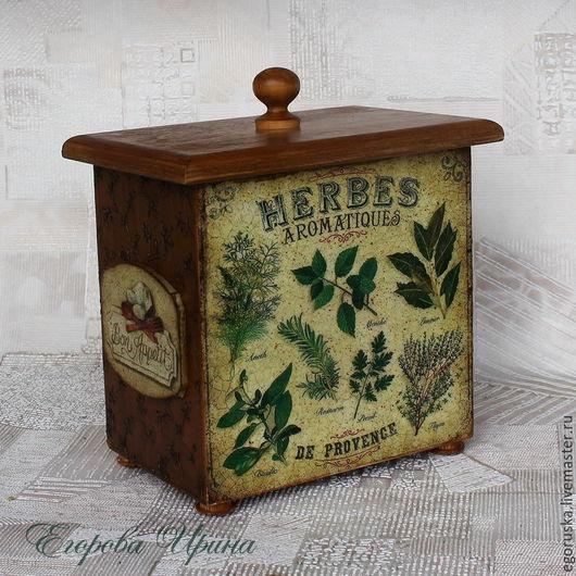 """Кухня ручной работы. Ярмарка Мастеров - ручная работа. Купить Короб """"Травы"""". Handmade. Оливковый, короб декупаж, для специй"""