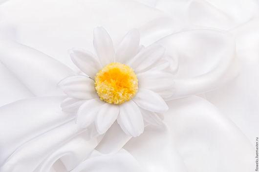 """Цветы ручной работы. Ярмарка Мастеров - ручная работа. Купить Цветы из шёлка. Кольцо с цветком """"Ромашка"""". Handmade. Желтый, цветы"""