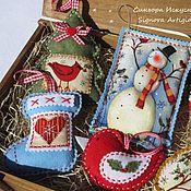 Подарки к праздникам handmade. Livemaster - original item Christmas toys out of felt Country snowman and bird 6pcs. Handmade.