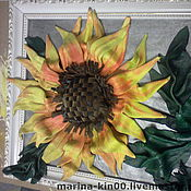 Картины и панно ручной работы. Ярмарка Мастеров - ручная работа картина из натуральной кожи  Подсолнух. Handmade.