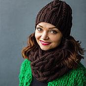 """Аксессуары ручной работы. Ярмарка Мастеров - ручная работа """"Шоколад"""", комплект вязаный женский, шарф снуд вязаный и шапка вязаная. Handmade."""