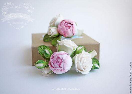 Свадебные украшения ручной работы. Ярмарка Мастеров - ручная работа. Купить Цветы для прически с бутоном пиона и чайными розами. Handmade.