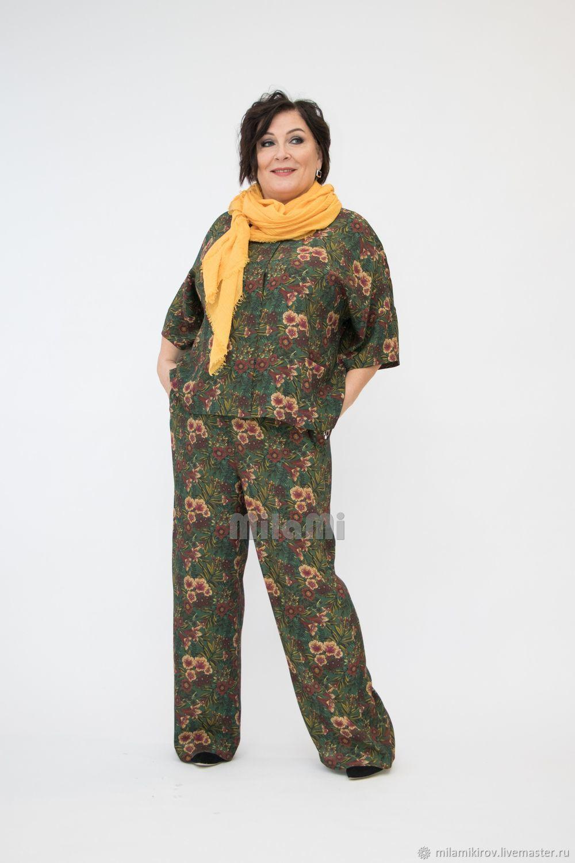 Брючный костюм темно-зеленый в цветах Арт. 4178, Костюмы, Киров,  Фото №1