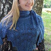 """Аксессуары ручной работы. Ярмарка Мастеров - ручная работа шаль """"капли росы"""", синяя шаль, вязаная шаль, ажурная шаль. Handmade."""