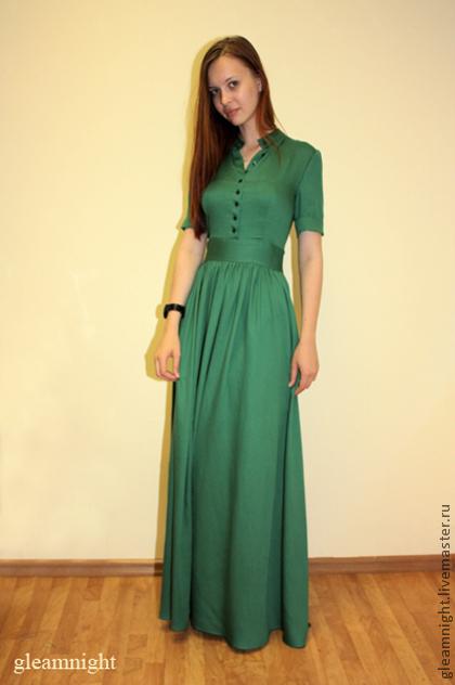 Платья ручной работы. Ярмарка Мастеров - ручная работа. Купить Длинное платье. Handmade. Тёмно-зелёный, платье в пол