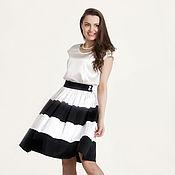 Одежда ручной работы. Ярмарка Мастеров - ручная работа 295: расклешенная юбка на подкладке, летняя юбка солнце, черно-белая. Handmade.