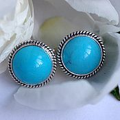 Earrings handmade. Livemaster - original item earrings with natural turquoise