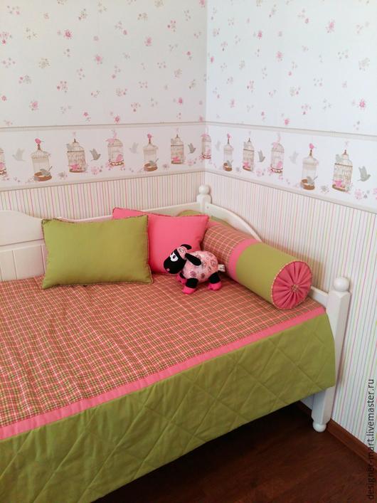 Текстиль, ковры ручной работы. Ярмарка Мастеров - ручная работа. Купить Покрывало с подушками для детской. Handmade. Ярко-зелёный, Подушки