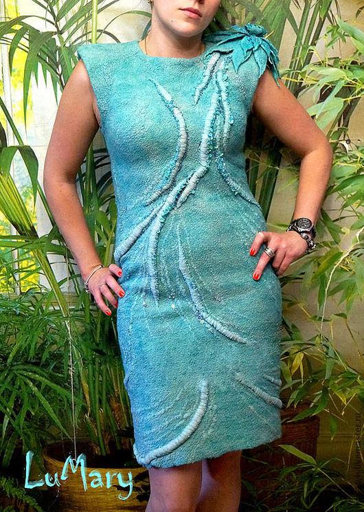 """Платья ручной работы. Ярмарка Мастеров - ручная работа. Купить Платье валяное """"мятный микс"""". Handmade. Мятный, платье из шерсти"""
