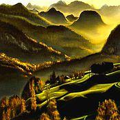 Картины и панно ручной работы. Ярмарка Мастеров - ручная работа Картина маслом . Утро в Альпах. Handmade.