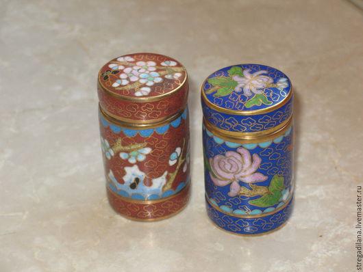 Винтажные предметы интерьера. Ярмарка Мастеров - ручная работа. Купить винтажные миниатюрные шкатулочки синяя и коричневая. клуазоне. Handmade.