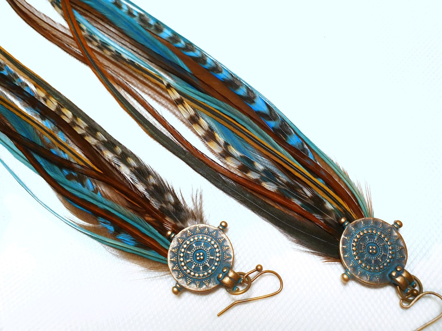 Mint delicate earrings with feathers, Earrings, Moscow,  Фото №1