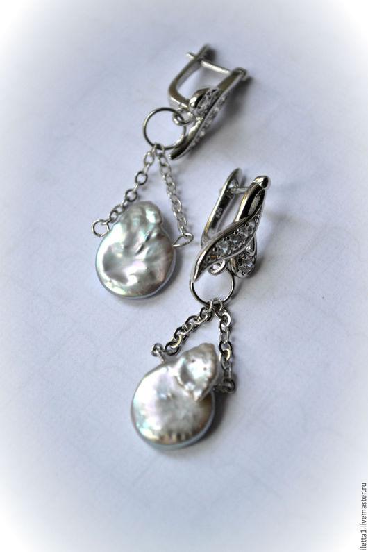 """Серьги ручной работы. Ярмарка Мастеров - ручная работа. Купить Серьги """"Благородное серебро"""" (жемчуг). Handmade. Розовый, многорядный браслет"""