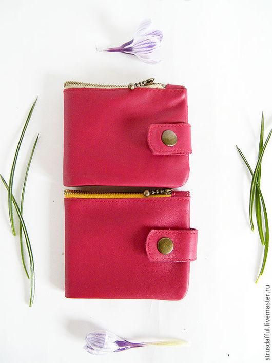 красный кожаный кошелёк-портмоне женский на молнии