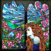 Картины и панно handmade. Livemaster - original item Painting with light/ stained glass painting with light Blue bird. Handmade.