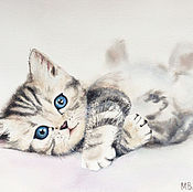 Картины и панно ручной работы. Ярмарка Мастеров - ручная работа Акварельный котенок. Handmade.